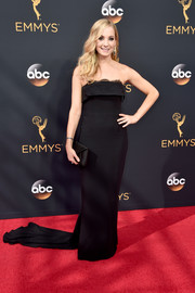 Joanne Froggatt opted for classic glamour with this strapless black column dress by Stella McCartney when she attended the Emmy Awards.