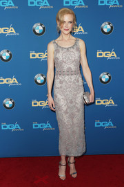 Nicole Kidman looked effortlessly glam in a beaded gray midi dress by Marchesa at the Directors Guild of America Awards.