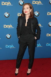 Isabelle Huppert stuck to her signature pantsuit look when she attended the Directors Guild of America Awards.