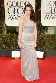 Andie MacDowell wore a one-shoulder silver dress with intricate beading for the Golden Globes.