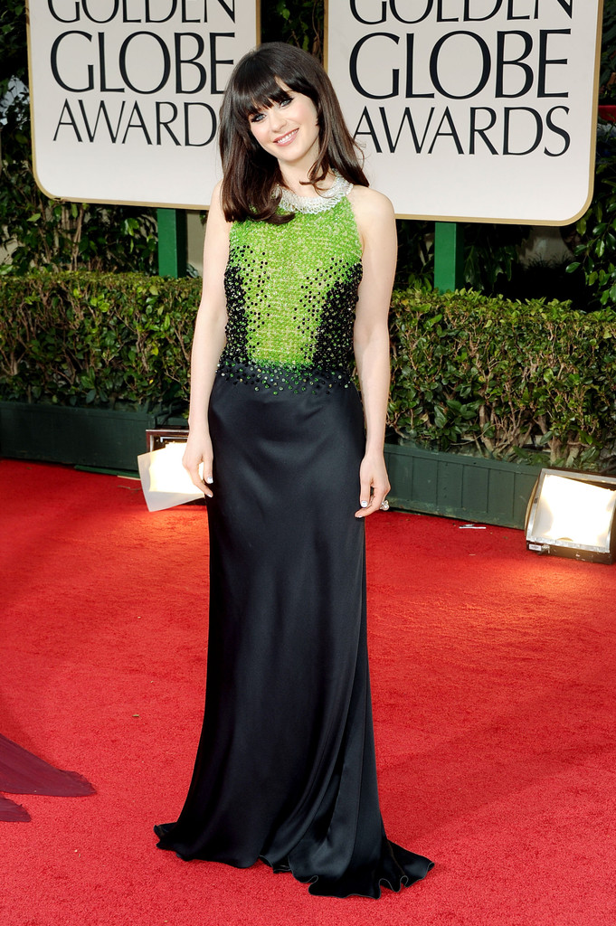 Actress Zooey Deschanel arrives at the 69th Annual Golden Globe Awards held at the Beverly Hilton Hotel on January 15, 2012 in Beverly Hills, California.