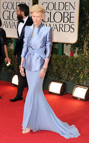 Tilda Swinton wore a 1940s sapphire flower, diamond and 18-carat gold coil cuff bracelet at the 69th Annual Golden Globe Awards.