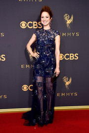 Ellie Kemper chose a rhinestone-embellished sheer-panel gown by Jenny Packham for her 2017 Emmys look.