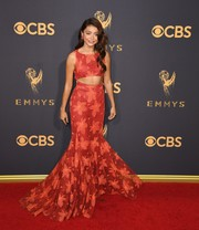 Sarah Hyland was trendy-glam in a printed red cutout gown by Zac Posen at the 2017 Emmys.