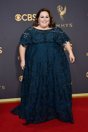 Chrissy Metz made a beautiful choice with this teal guipure lace gown by Lela Rose for her 2017 Emmys red carpet look.