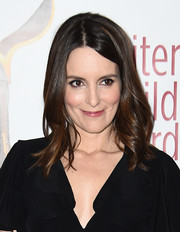 Tina Fey wore her hair down to her shoulders in a simple wavy style during the Writers Guild Awards.
