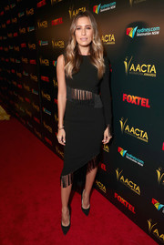 Renee Bargh looked fashion-forward in a fringed black one-sleeve top at the AACTA International Awards.