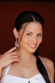 Katrina Law showed off a unique pair of dangling earrings while attending the Pre-Emmy gift suite.