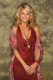 Although Christie looked amazing in her low cut copper tone dress with this interesting beaded necklace.