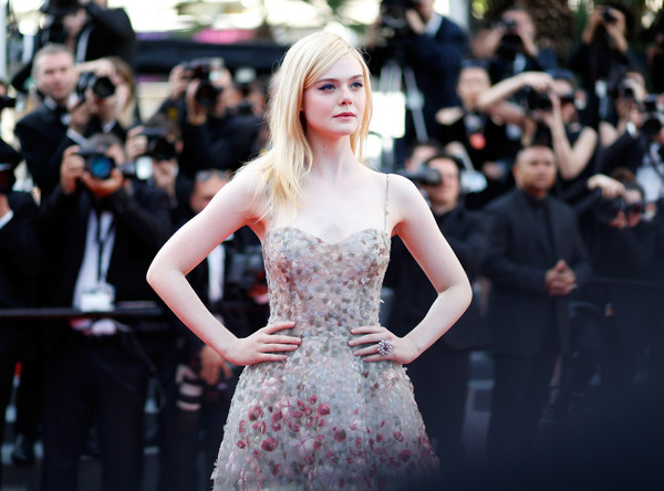 More Pics of Elle Fanning Long Straight Cut (1 of 47) - Long Hairstyles Lookbook - StyleBistro [hair,dress,clothing,hairstyle,fashion,beauty,fashion model,blond,lady,red carpet,red carpet arrivals,elle fanning,cannes,france,cannes film festival,palais des festivals]