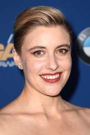Greta Gerwig styled her hair into a neat pompadour for the 2018 Directors Guild of America Awards.