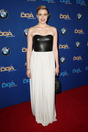 Greta Gerwig went for edgy glamour in a strapless, leather-bodice gown by Alexander Wang at the 2018 Directors Guild of America Awards.