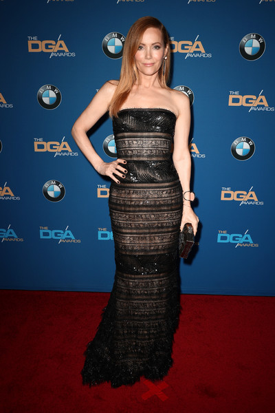 More Pics of Leslie Mann Metallic Clutch (1 of 8) - Clutches Lookbook - StyleBistro [dress,clothing,carpet,strapless dress,red carpet,cocktail dress,fashion,shoulder,premiere,gown,arrivals,leslie mann,directors guild of america awards,beverly hills,california,the beverly hilton hotel]