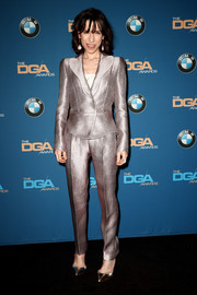 Sally Hawkins stood out in an impeccably tailored gold suit by Armani Prive at the 2018 Directors Guild of America Awards.