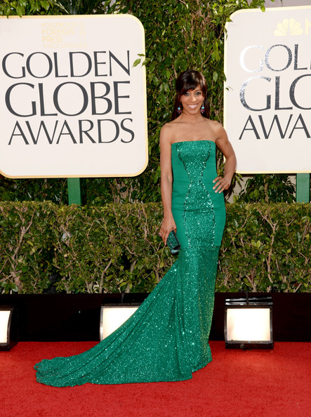 Shaun Robinson Wears Pamella Roland at the 2013 Golden Globes