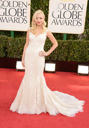 Francesca Eastwood looked ready to walk down the aisle in this lacy mermaid gown at the Golden Globe Awards.