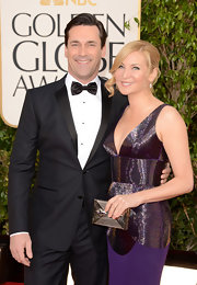Jennifer Westfeldt glimmered at the Golden Globes with this silver box clutch and evening dress combo.