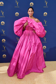 Tracee Ellis Ross stole the spotlight in a voluminous hot-pink off-the-shoulder gown by Valentino Couture at the 2018 Emmys.