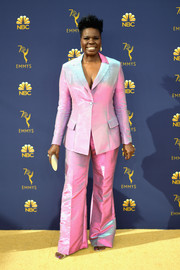 Leslie Jones looked groovy in an iridescent pantsuit by Christian Siriano at the 2018 Emmys.