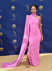 Thandie Newton turned heads in a pink Brandon Maxwell column dress with a long train and choker detail at the 2018 Emmys.