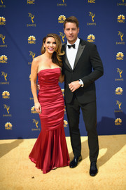 Chrishell Stause went the ultra-feminine route in a strapless raspberry mermaid gown at the 2018 Emmy Awards.