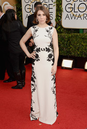 Zosia Mamet revealed her more glamorous side at the Golden Globes in a white Reem Acra gown with black floral beading.
