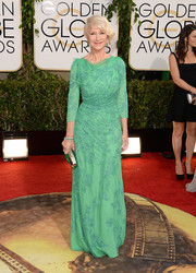 Helen Mirren looked flawless, as always, in a beaded green gown by Jenny Packham during the Golden Globes.