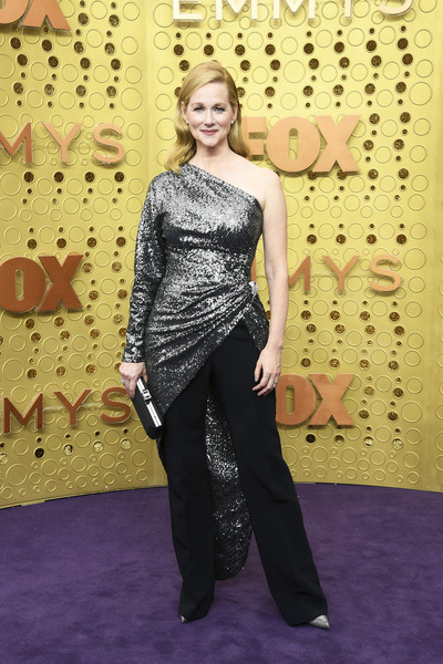 Laura Linney shimmered in a silver one-shoulder top by Derek Lam at the 2019 Emmy Awards.