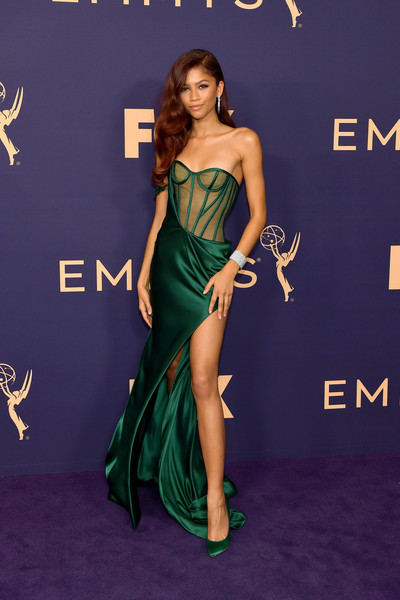 Zendaya Coleman ravished in a strapless, sheer-bodice corset gown by Vera Wang at the 2019 Emmy Awards.