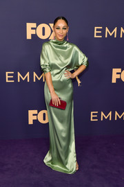 Cara Santana was the picture of elegance in a high-neck mint-green satin gown by Sally LaPointe at the 2019 Emmy Awards.
