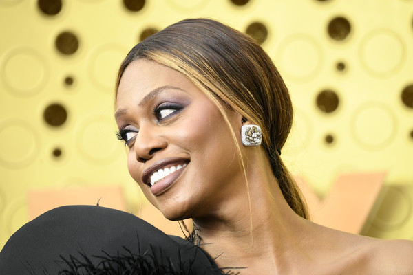 Laverne Cox attended the 2019 Emmy Awards wearing her hair in a low ponytail.