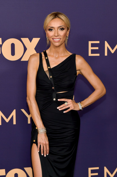 More Pics of Giuliana Rancic Cutout Dress (1 of 3) - Giuliana Rancic Lookbook - StyleBistro [clothing,dress,little black dress,cocktail dress,hairstyle,fashion,shoulder,carpet,fashion model,premiere,arrivals,giuliana rancic,emmy awards,microsoft theater,los angeles,california]