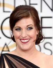 Allison Tolman hit the Golden Globes wearing her hair in a demure chignon.
