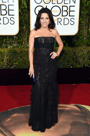 Julia Louis-Dreyfus kept it classic in a strapless black lace gown by Lanvin at the Golden Globes.