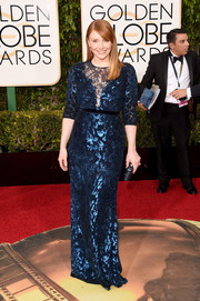 Bryce Dallas Howard glimmered in a lace-panel blue sequin gown by Jenny Packham at the Golden Globes.