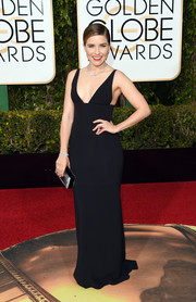 Sophia Bush went for sexy elegance in this sleek, low-cut black gown by Narciso Rodriguez for her Golden Globes look that she paired with Sophia Webster shoes.