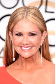 Nancy O'Dell opted for a simple center-parted, straight hairstyle when she attended the Golden Globes.