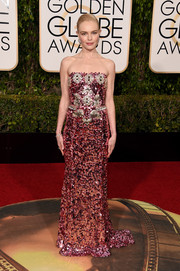 Kate Bosworth looked radiant in a fully sequined strapless gown by Dolce & Gabbana at the Golden Globes.