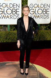 Taylor Schilling opted for simple black satin pumps by Giuseppe Zanotti to finish off her look.