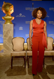 Angela Bassett was all about relaxed sophistication in a dual-textured red Karen Millen jumpsuit with fringe detailing at the Golden Globe nominations announcement.