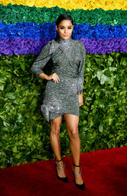 Vanessa Hudgens teamed her frock with a pair of strappy pumps, also by Altuzarra.