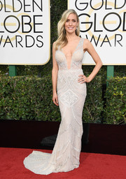 Kristin Cavallari struck the perfect balance between sexy and elegant with this plunging, beaded silver gown by Idan Cohen at the Golden Globes.