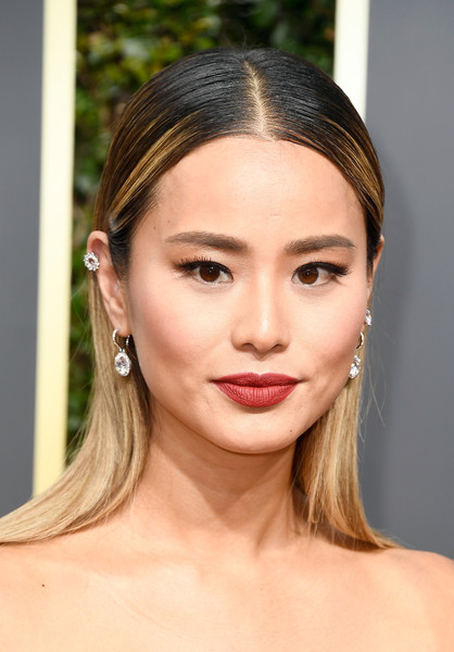 More Pics of Jamie Chung Strapless Dress (3 of 11) - Dresses & Skirts Lookbook - StyleBistro [hair,face,eyebrow,lip,hairstyle,skin,chin,beauty,forehead,cheek,arrivals,jamie chung,the beverly hilton hotel,beverly hills,california,golden globe awards,the 75th annual golden globe awards]