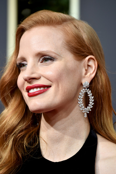 More Pics of Jessica Chastain Fishtail Dress (1 of 13) - Jessica Chastain Lookbook - StyleBistro [hair,face,lip,hairstyle,eyebrow,blond,ear,chin,beauty,skin,arrivals,jessica chastain,beverly hills,california,the beverly hilton hotel,golden globe awards,the 75th annual golden globe awards]