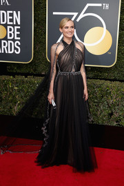 Diane Kruger looked downright regal at the 2018 Golden Globes in a black Prada halter gown with silver embellishments and a flowing train.