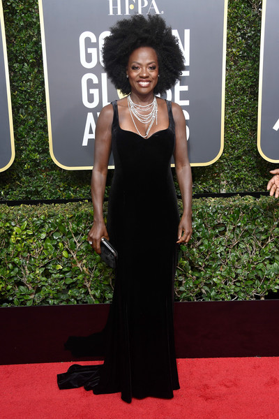 Viola Davis wowed in a figure-hugging velvet fishtail gown by Brandon Maxwell at the 2018 Golden Globes.