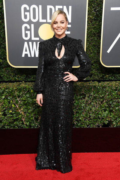 Abbie Cornish sparkled in a black Moschino sequin gown with a keyhole cutout at the 2018 Golden Globes.