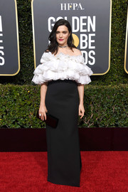 Rachel Weisz got frilled up in an off-the-shoulder, ruffle-bodice gown by Celine for the 2019 Golden Globes.