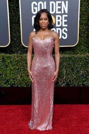 Regina King channeled her inner disco queen in a heavily embellished strapless column dress by Alberta Ferretti at the 2019 Golden Globes.