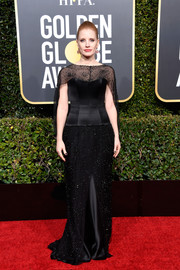 Jessica Chastain looked regal in a black sheer-panel gown by Burberry at the 2019 Golden Globes.